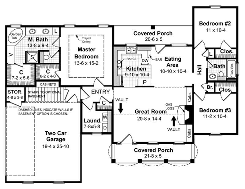 Country Home Plan 3 Bedrms 2 Baths 1500 Sq Ft 141 1220