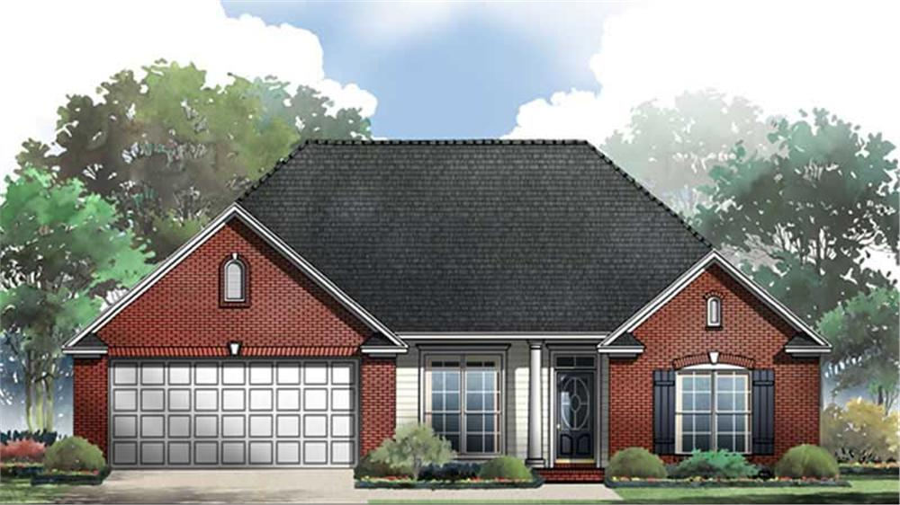 Front elevation of Acadian home (ThePlanCollection: House Plan #141-1221)