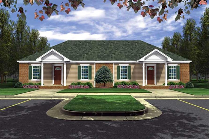 2-Bedroom, 1650 Sq Ft Multi-Unit House Plan - 141-1223 - Front Exterior