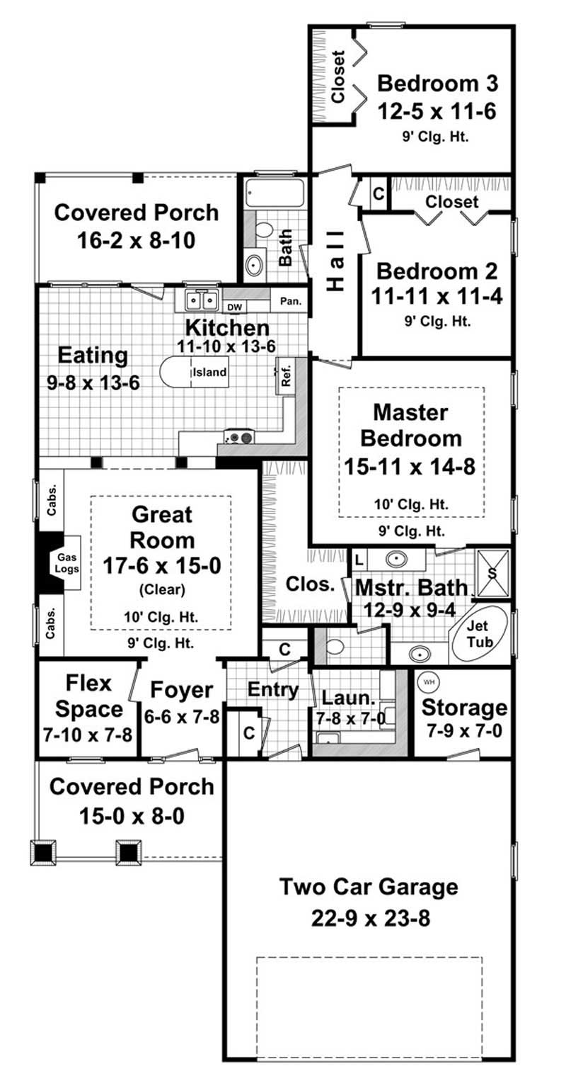 Country Home Plan 3 Bedrms 2 5 Baths 1800 Sq Ft
