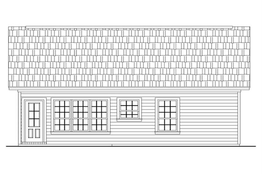 Home Plan Rear Elevation of this 2-Bedroom,1000 Sq Ft Plan -141-1230