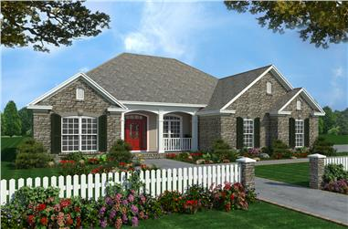 Front elevation of Acadian home (ThePlanCollection: House Plan #141-1231)