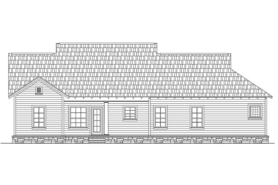 Home Plan Rear Elevation of this 3-Bedroom,1509 Sq Ft Plan -141-1238