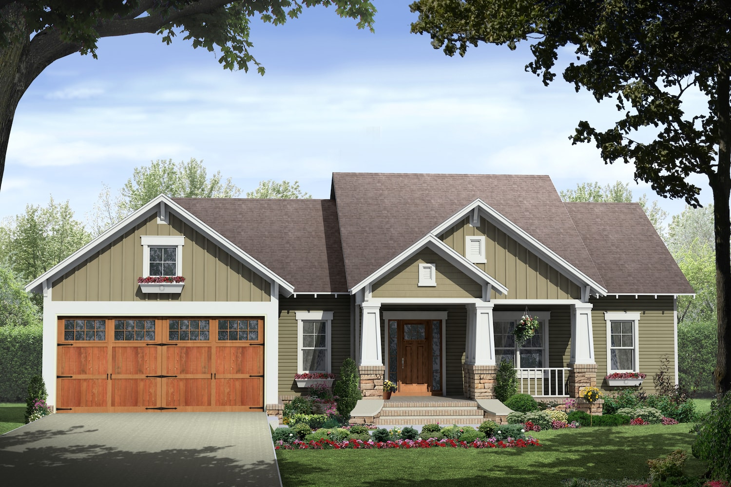 141 1238 · color rendering of craftsman ranch house plan 141 1238
