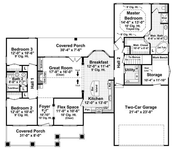141-1239 house plan first floor