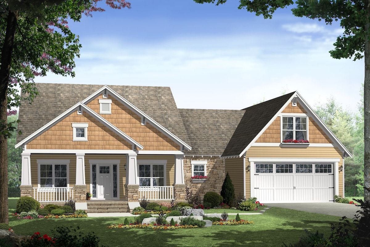 1800 Sq Ft Ranch House Plan with Bonus Room - 3 Bed, 2 Bath Ranch Home Building Plans Bed Bath on