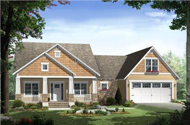 Color rendering of Ranch home plan (ThePlanCollection: House Plan #141-1239)