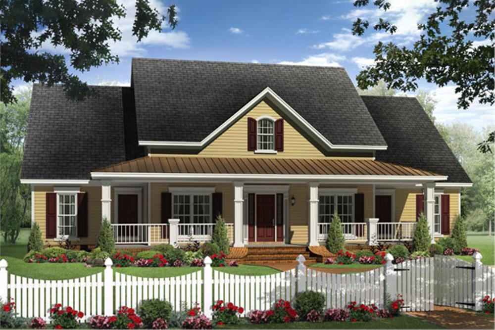 Country Farmhouse home plan (ThePlanCollection: House Plan #141-1240)