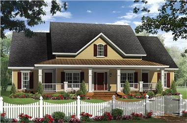 Country Farmhouse home plan (ThePlanCollection: House Plan #141-1240)