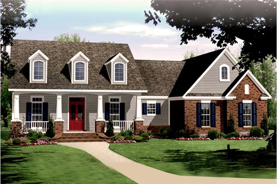 Color rendering of Craftsman home plan (ThePlanCollection: House Plan #141-1241)