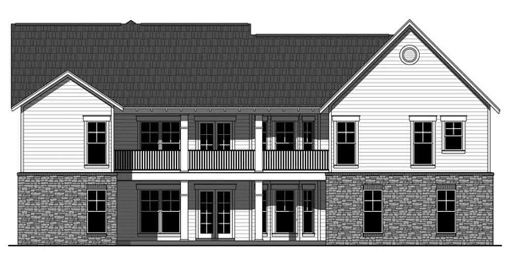 141-1242 house plan rear elevation