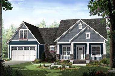 3-Bedroom, 1637 Sq Ft Craftsman Home Plan - 141-1242 - Main Exterior