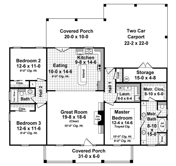 3 Bedrm 1640 Sq Ft Country House Plan 141 1243