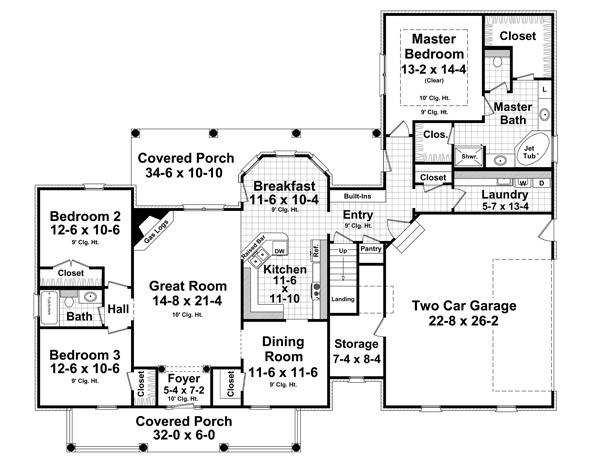 141-1244 house plan first floor plan