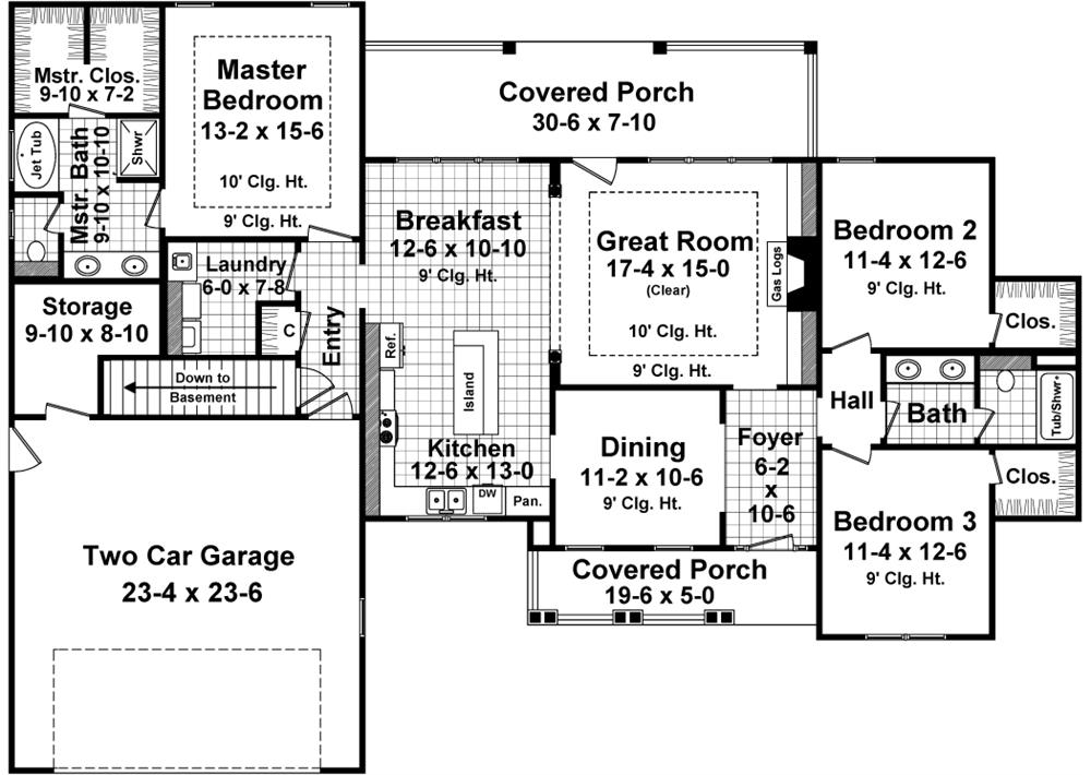 141-1245 house plan main floor