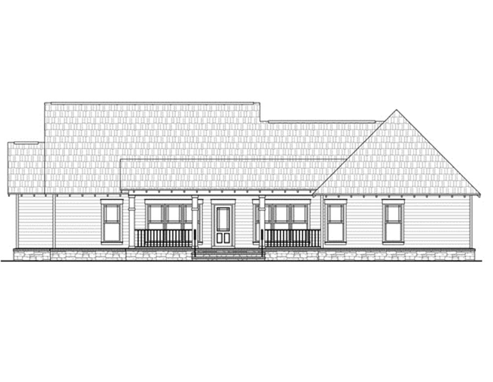 141-1245 house plan rear elevation