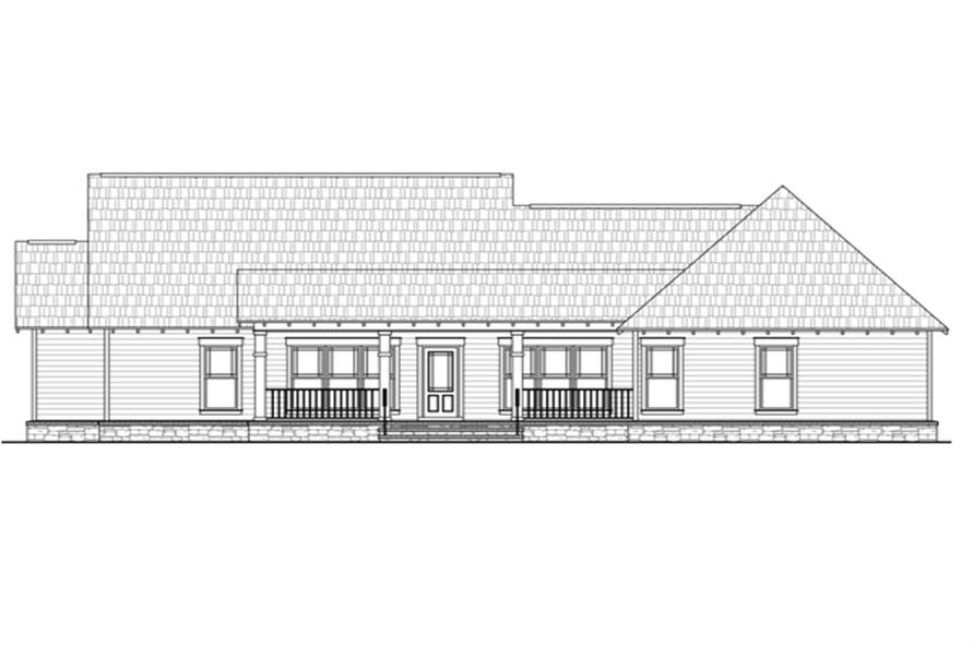 Home Plan Rear Elevation of this 3-Bedroom,1818 Sq Ft Plan -141-1245