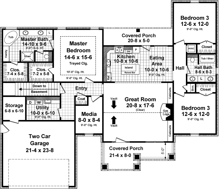 141-1246 house plan main level