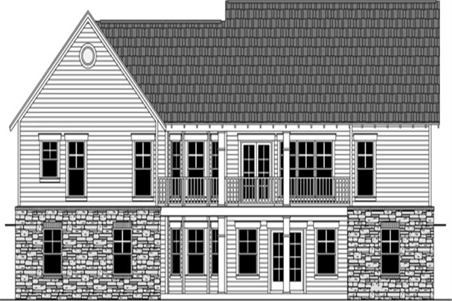 Home Plan Rear Elevation of this 3-Bedroom,1816 Sq Ft Plan -141-1250