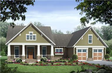 Front rendering of this Craftsman style home #141-1250.