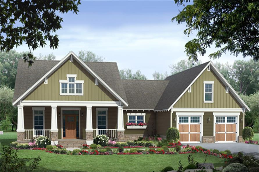 3-Bedroom, 1816 Sq Ft Craftsman House Plan - 141-1250 - Front Exterior