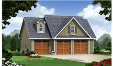 Front elevation of Craftsman garage with apartment (ThePlanCollection: House Plan #141-1251)