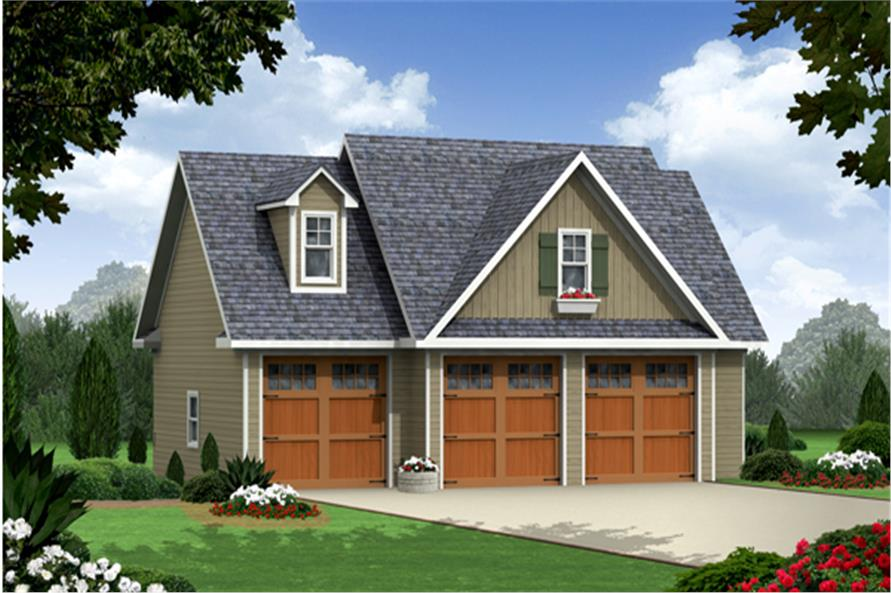 Craftsman garage with apartment plan 141 1251 1 bedrm 3 for Three car detached garage plans