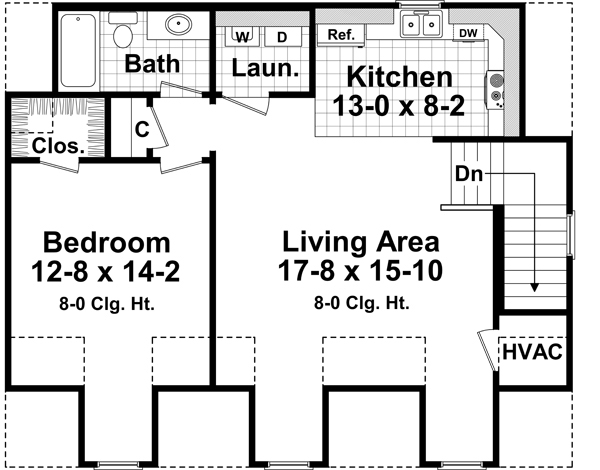 Tiny Home Designs: Country Garage With Apartment Plan #141-1252: 1 Bedrm, 2