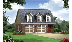 Front elevation of country style garage with apartment (ThePlanCollection: House Plan #141-1252)