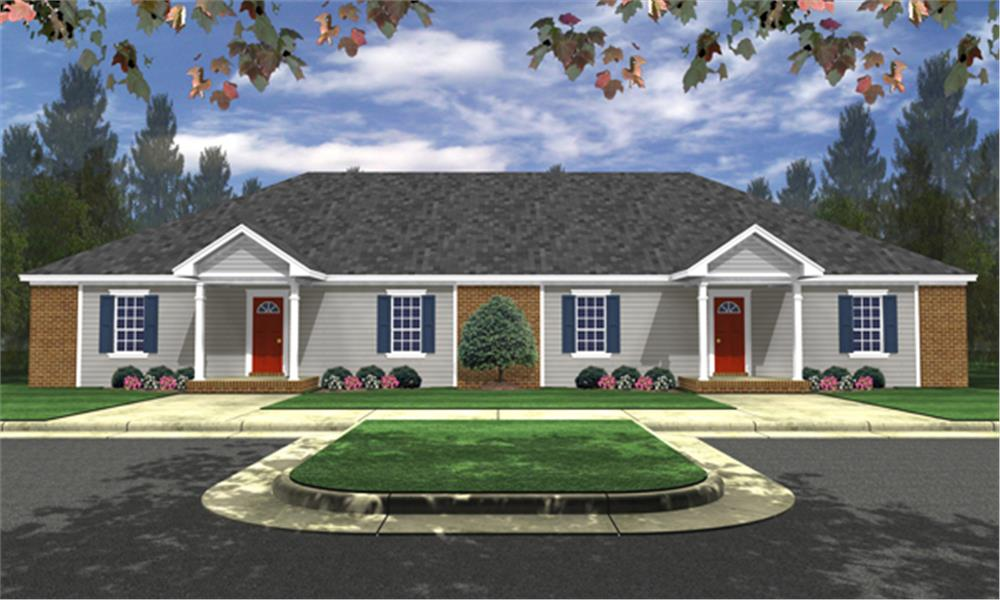 Front elevation of Southern home (ThePlanCollection: House Plan #141-1254)