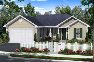 3-Bedroom, 1200 Sq Ft Traditional House Plan - 141-1255 - Front Exterior
