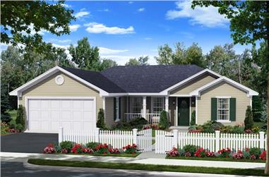 3-Bedroom, 1216 Sq Ft Small House Plans - 141-1256 - Main Exterior