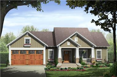 Front elevation of Craftsman home (ThePlanCollection: House Plan #141-1257)