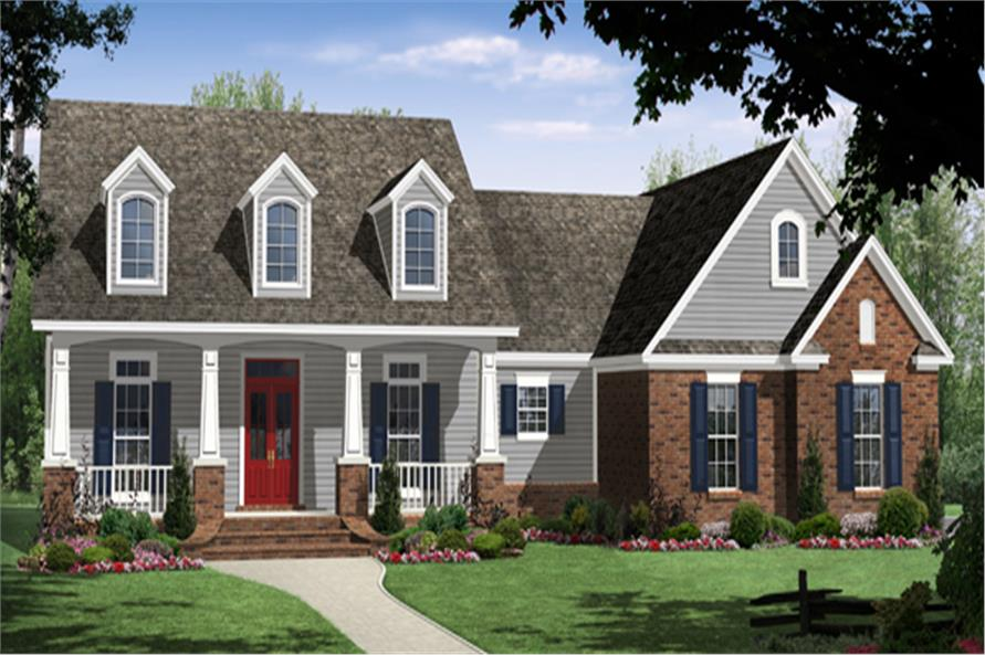 Front elevation of Craftsman home (ThePlanCollection: House Plan #141-1258)