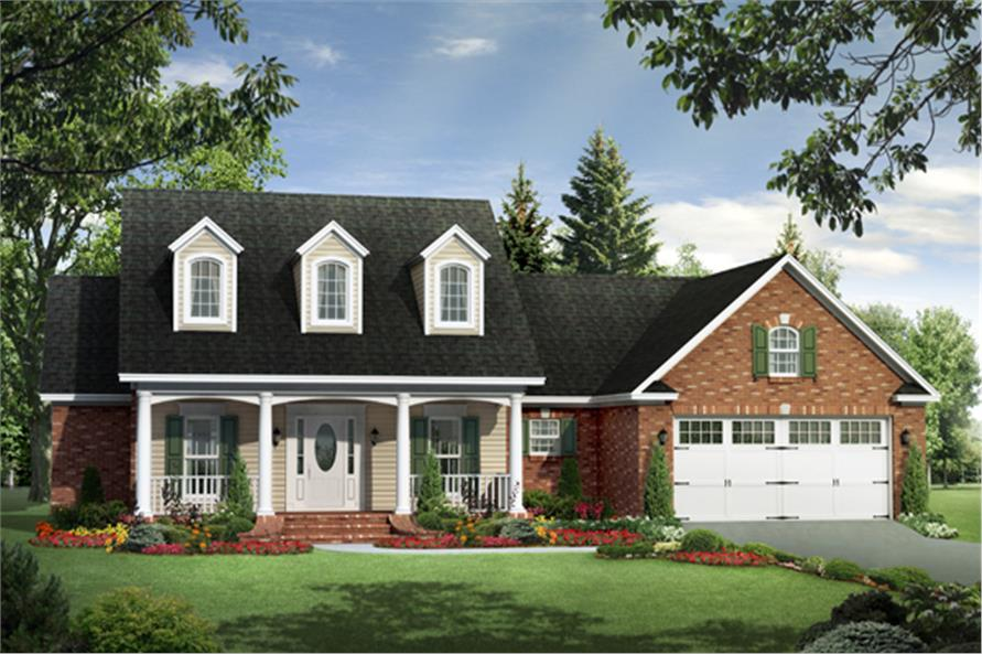 3-Bedroom, 1717 Sq Ft Country House Plan - 141-1260 - Front Exterior