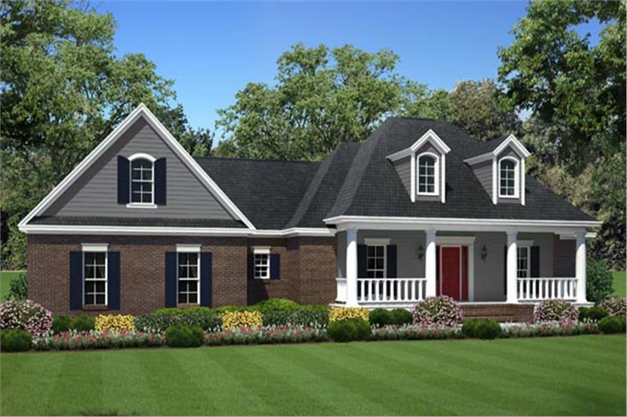 Front elevation of this country home (ThePlanCollection: House Plan #141-1263)