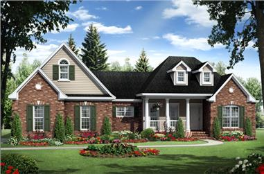 3-Bedroom, 1818 Sq Ft Traditional House Plan - 141-1264 - Front Exterior