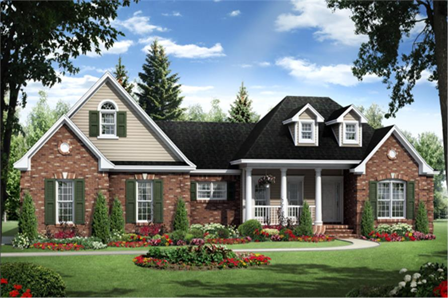 Front elevation of this country style home (ThePlanCollection: House Plan #141-1264)