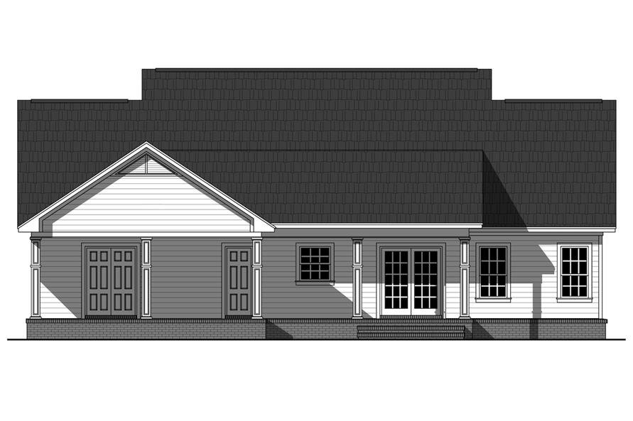 Home Plan Rear Elevation of this 3-Bedroom,1870 Sq Ft Plan -141-1266