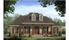 Front elevation of Acadian - French Country home (ThePlanCollection: House Plan #141-1267)