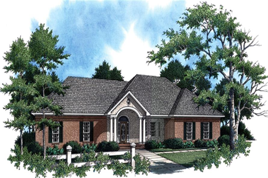 Front elevation of this ranch home (ThePlanCollection: House Plan #141-1268)