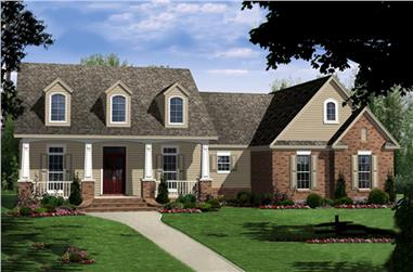 Color rendering of Country home plan (ThePlanCollection: House Plan #141-1273)