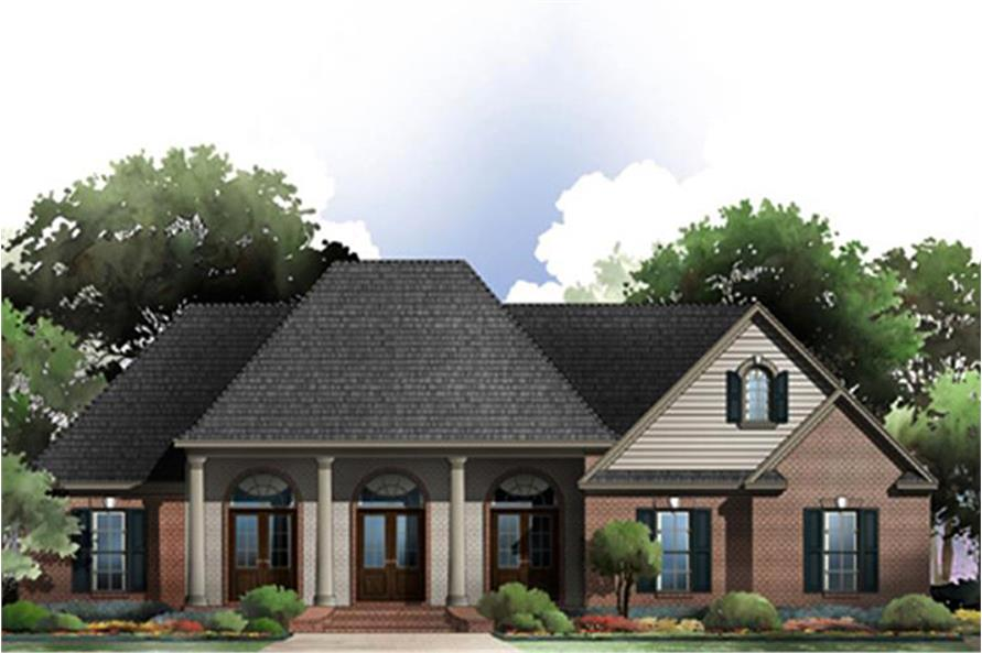 Color rendering of Acadian home plan(ThePlanCollection: House Plan #141-1274)