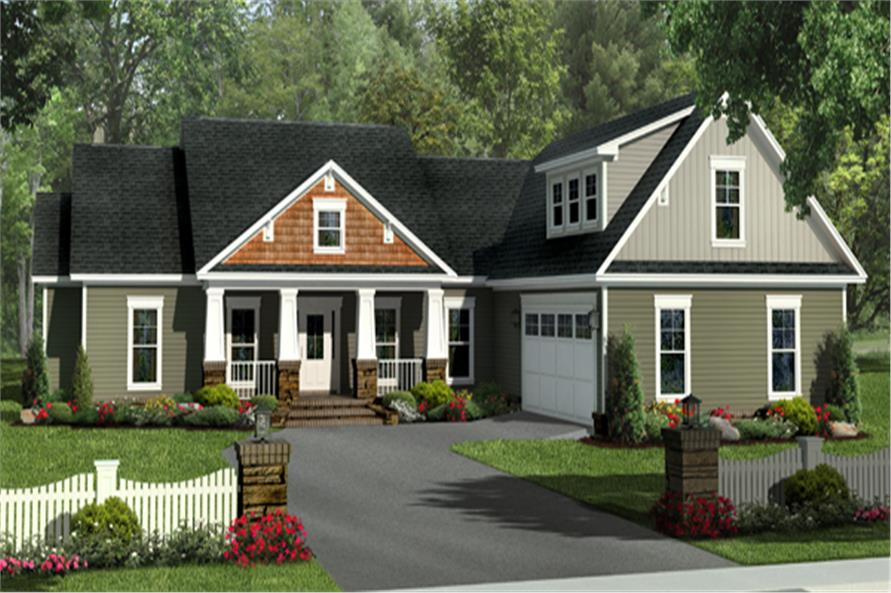 Front elevation of Craftsman home (ThePlanCollection: House Plan #141-1275)