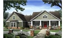 Front elevation of Craftsman home (ThePlanCollection: House Plan #141-1277)