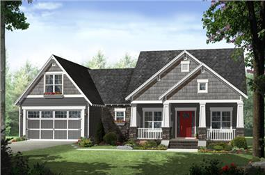 Front elevation of Craftsman home (ThePlanCollection: House Plan #141-1279)
