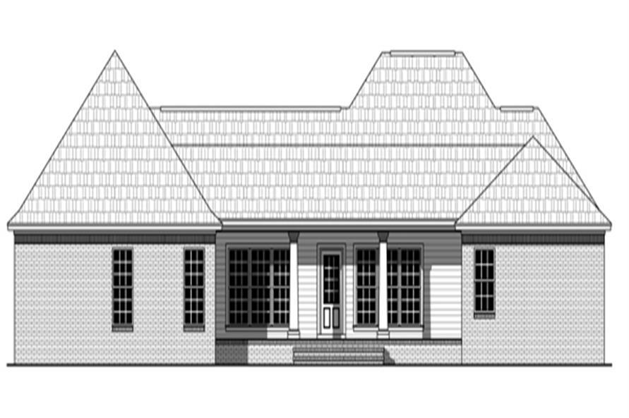 141-1280: Home Plan Rear Elevation