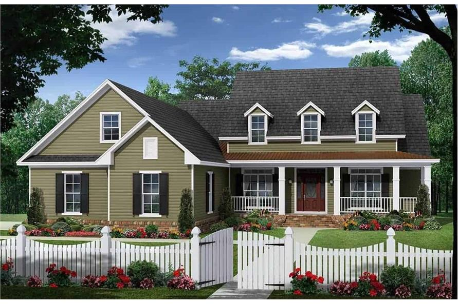 4-Bedroom, 2410 Sq Ft Country House Plan - 141-1282 - Front Exterior