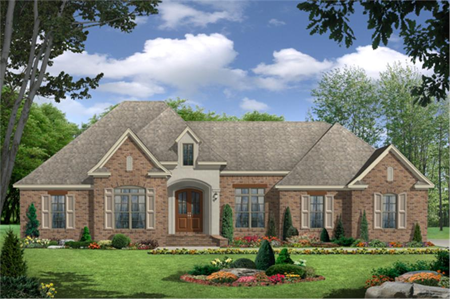 Front elevation of French home (ThePlanCollection: House Plan #141-1283)