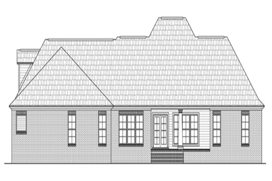 Home Plan Rear Elevation of this 4-Bedroom,2724 Sq Ft Plan -141-1286